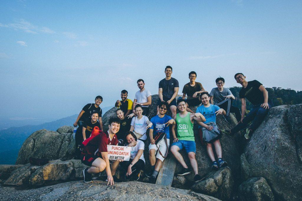 the StaffAny team on the peak of Gunung Datuk in Malacca