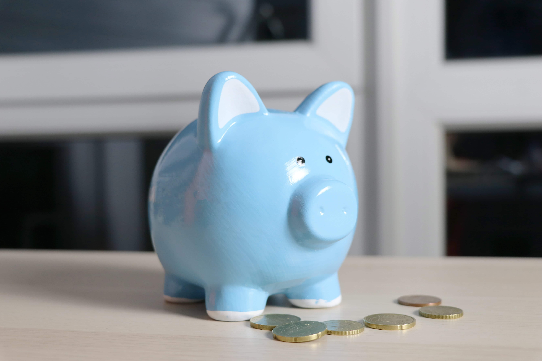 a piggy bank with a few coins